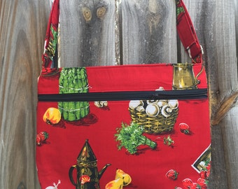 Zipper Pocket Cross Body Bag - Vintage upcycled red tablecloth with vegetables