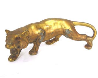 Vintage Crouching Gold Tiger Figurine, Mid Century, Year of the Tiger, Heavy Metal, Hollywood Regency
