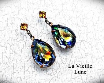 Sapphire Topaz Rhinestone Earrings, Pear Jewel Earrings, Vintage Jewel Earrings