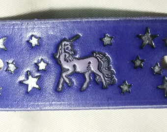 Leather Pony Tail Stick Barrette with Unicorn and Stars - man bun holder, mens pony tail holder,