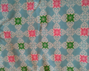 Pink, Green, White Print on Blue Vintage Heavy Cotton Fabric 2 1/2 Yards  X0846