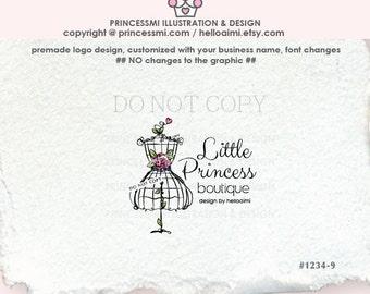 1234-9 boutique logo, Custom logo, Premade Logo Design - sketch hand drawn, lady dress , dummy logo , watermark , boutique logo