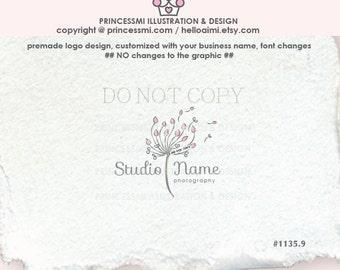 1135-9  Dandelion logo, flower, floral logo,  photography logo,  business,  boutique logo, watermark design