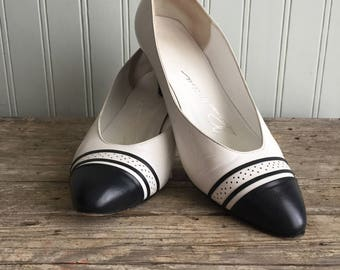 Vintage Spectator Pumps, Navy and White, Thomas Wallace