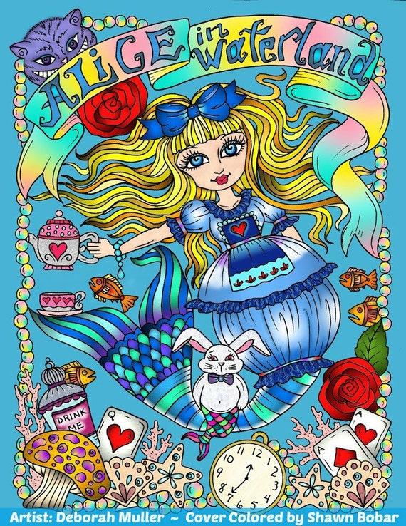 ALICE In Waterland Coloring Book Adult Wonderland Art