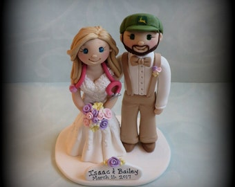 Wedding Cake Topper, Custom Cake Topper, Nurse, John Deere, Bride and Groom, Polymer Clay, Personalized, Keepsake, Farmer