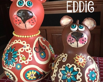 bear, brown, paisley, gourd, painted gourd, hand painted, mom, cub, home decor