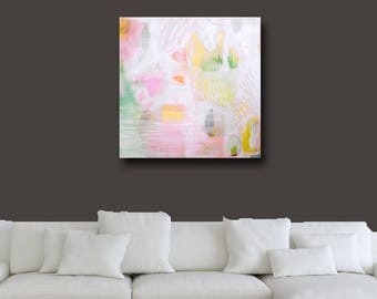 Large Abstract Canvas Wall Art, Pale Abstract Painting, Large Contemporary Giclee Print,  Modern Artwork, Expressive Abstract Art