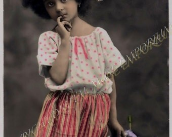 Instant Download Vintage Photograph - Shy Girl