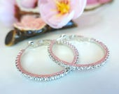 Large silver hoop cubic zirconia earrings, classic silver crystal hoop earrings