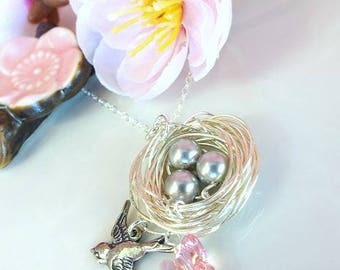 Sterling silver birds nest egg pink Swarovski crystal butterfly necklace, robins egg sparrow nest cottage chic necklace, silver nest