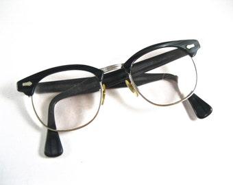 Woodgrain horn rimmed eyeglasses frames. Wood combo gold filled frames. blackwood Mens/unisex large size 48-22