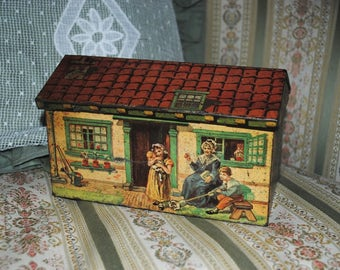 House shaped Tin Box Cottage Italian Fratelli Gattorno