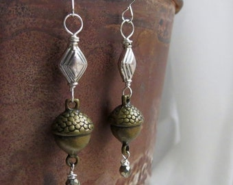 pyrite earrings . ACORN . sterling silver earrings . squirrel earrings . brass earrings . harvest earrings . nature earrings . autumn fall