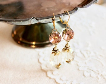 Gorgeous vintage inspired sparkling rose gold and champagne glass bead dangle earrings, Emily