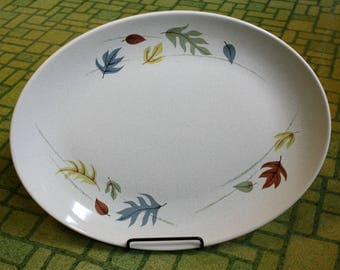 "Vintage 1950s Franciscan Autumn Pattern Oval Serving Platter 13"" MCM Earthenware Fall Leaves Retro Dining Housewares"