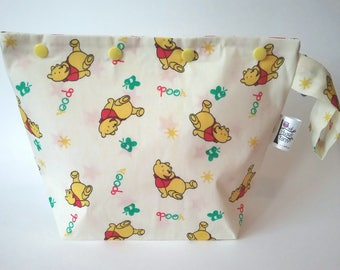 Cute Winnie the Pooh themed knitting/spinning/crochet/crafting project bag