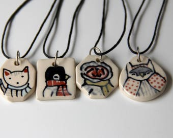 Penguin Necklace Handmade Ceramic Pendant on 16 inch Waxed Cotton Cord Penguin Illustration Cute animal themed Jewelry Gifts under 20