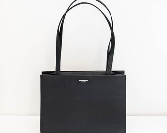 KATE SPADE black canvas tote purse - shoulder handbag