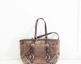 COACH green brown suede leather bucket bag - tote purse