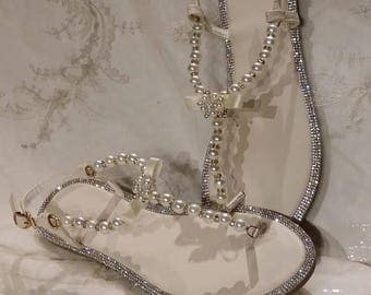 Ivory Wedding Sandals Bridal With Pearls And Crystals Destination Beach
