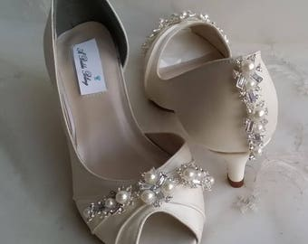 Ivory Wedding Shoes Ivory Bridal Shoes with Pearls and Crystals  or PICK FROM 100 COLORS Bridesmaid Shoes