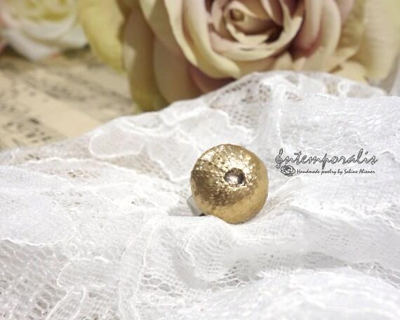 Adjustable bronze ring, Sea Urchin, OOAK, SABA56
