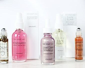 BEST SELLERS - Gift Set | Gifts for Women | Rosewater, Unicorn shimmer, Hair mist, Perfume and more | 100% natural and vegan set for her