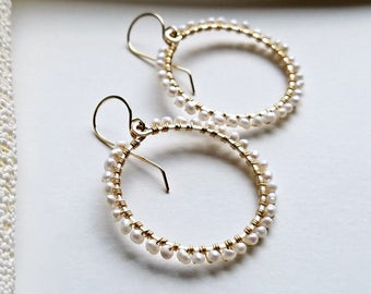 Small Pearl Hoops, Seed Pearl Hoop Earrings, White Pearl Hoop Earrings, White Seed Pearl Earrings, Wire Wrapped Pearl Earrings