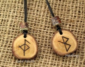 Good health, Healing, Pendant, amulet, Bind Rune, Talisman, Rune Charm, Yew, Hand crafted, Blessing, Pagan, Asatru, Viking, Norse, Heathen