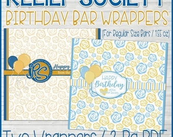 RS BIRTHDAY Candy Bar Wrapper, Relief Society Birthday Gift Idea, LDS, Relief Society Gift Tag, Happy Birthday - Printable Instant Download