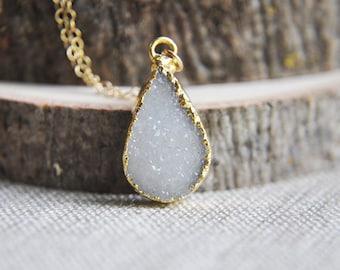 Teardrop Necklace, Druzy Necklace, Druzy Bar Necklace, Druzy Jewelry, Druzy stone necklace, Stone Necklace, Layering Necklace, Boho Necklace
