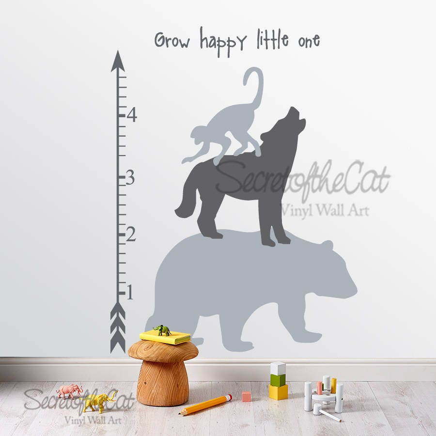 Nursery Wall Decal Wall Decals Nursery Kids Growth Chart Forest