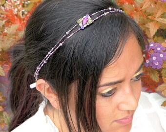 Purple Beaded Headband - Rhinestone Tie Headband - Purple Crystal Headband - Xmas Gifts for Her - Girls Headband - Women Headband