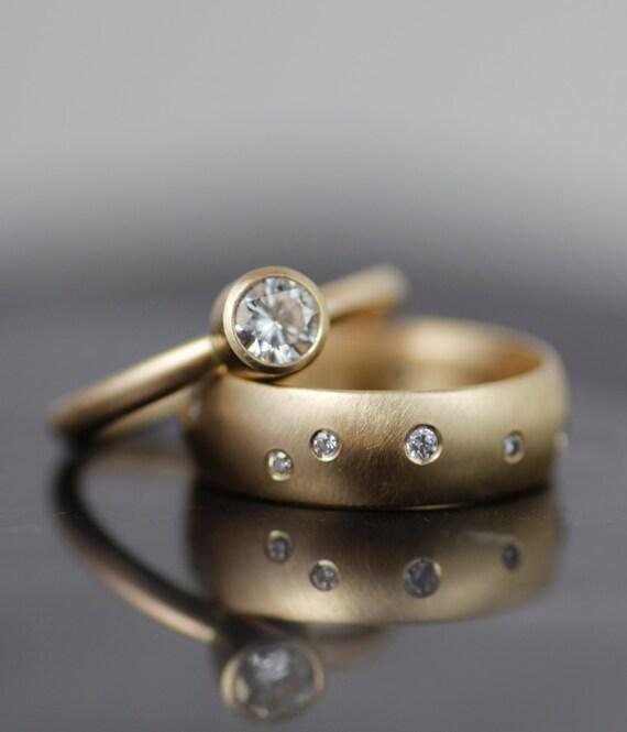 Womens Alternative Engagement Ring Gold Wedding Band Set