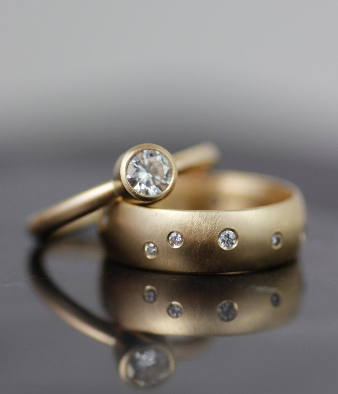 womens alternative engagement ring gold wedding band set. Black Bedroom Furniture Sets. Home Design Ideas