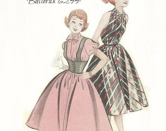 Vintage Teen or Misses Dress Pattern Cute Sleeveless or Short Sleeve Corselet Butterick 6244 Size 10 Bust 28 FF