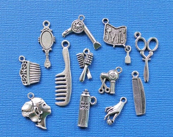 Hair Salon Charm Deluxe Collection Antique  Silver Tone 12 Different Charms - COL203