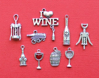Wine Charm Collection Antique Silver Tone 9 Different Charms - COL015