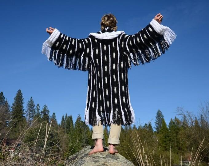 Crochet Sweater Robe Black and White Smoking Jacket with Fringe