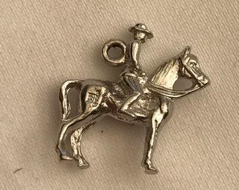 Cowboy Horseback Sterling Silver Bracelet Charm Figural Horse 1.75mm by 2mm 925