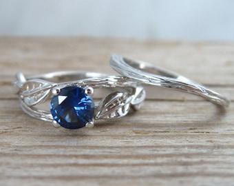 Twig and Leaf Engagement Set, Leaves Wood Engagement set, Unique Engagement Ring, Leaf Engagement Ring With Sapphire, Twig Engagement Ring