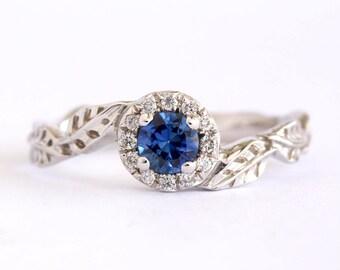 Halo Sapphire Leaves Engagement Ring, Leaf Diamond Engagement Ring, Diamond Halo Leaf Ring, Antique Gold Leaf Ring
