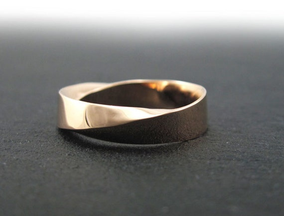 Mobius Wedding Ring Mens Gold Band 6mm Wide Strip Infinity