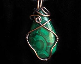 Malachite and Oxidized Copper Pendant