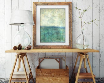 "Abstract Sea Print, Mixed Media Print, Impressionist Seascape, Ocean Landscape Print, Wall Art, 8""x10"" or 11""x14""  blue green print ""Adrift"""