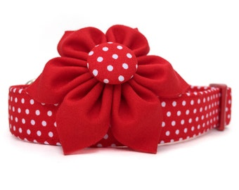 Dog Collar with Flower, Red & White Dog Collar Flower, Polka Dot Dog Collar, Red White Dog Collar, Red Polka Dot dog collar