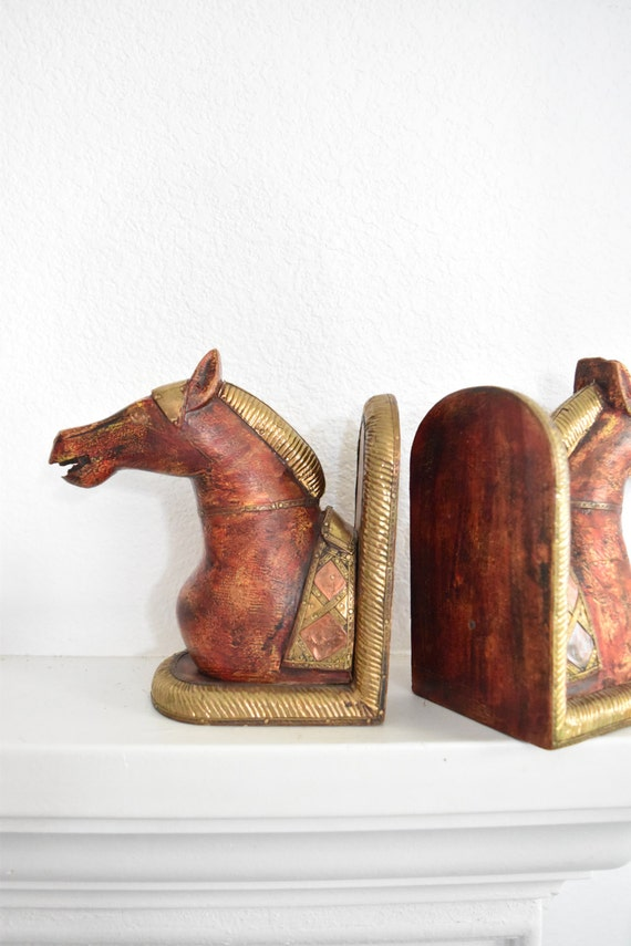 egyptian wood brass horse head bookends / set of 2