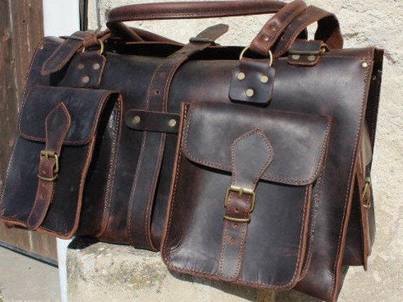 SALE Weekender- leather backpack, leather duffle bag!  weekenderbag from leather