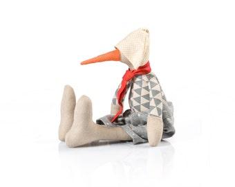 Bird Plush Toy , stuffed animals , linen bird doll , soft duck doll , art soft toy bird , handmade bird soft sculpture , beige gray coral